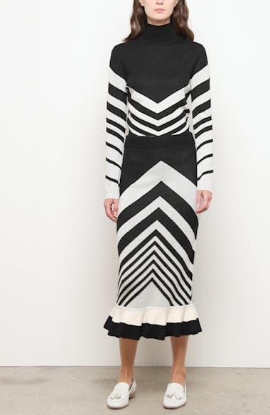 Chevron Ruffle Wool Midi Skirt, video thumbnail