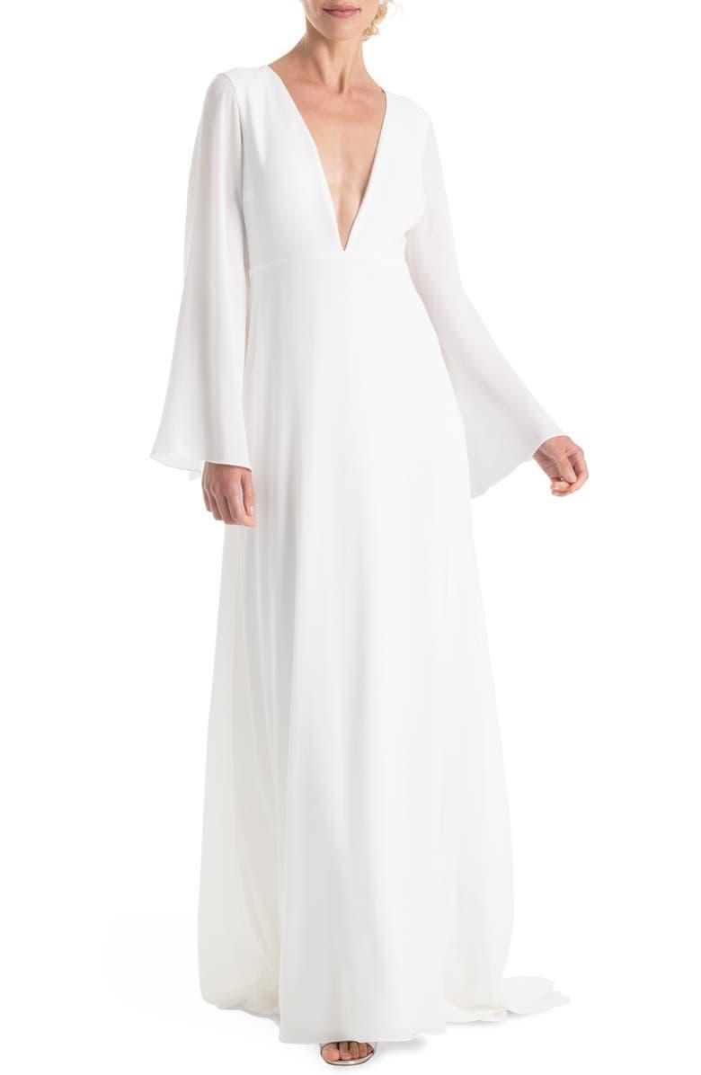 JOANNA AUGUST Stevie Bell Sleeve A-Line Gown, Main, color, 100