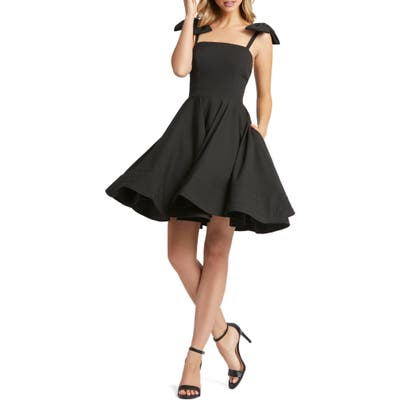 MAC Duggal Bow Fit & Flare Cocktail Dress, Black