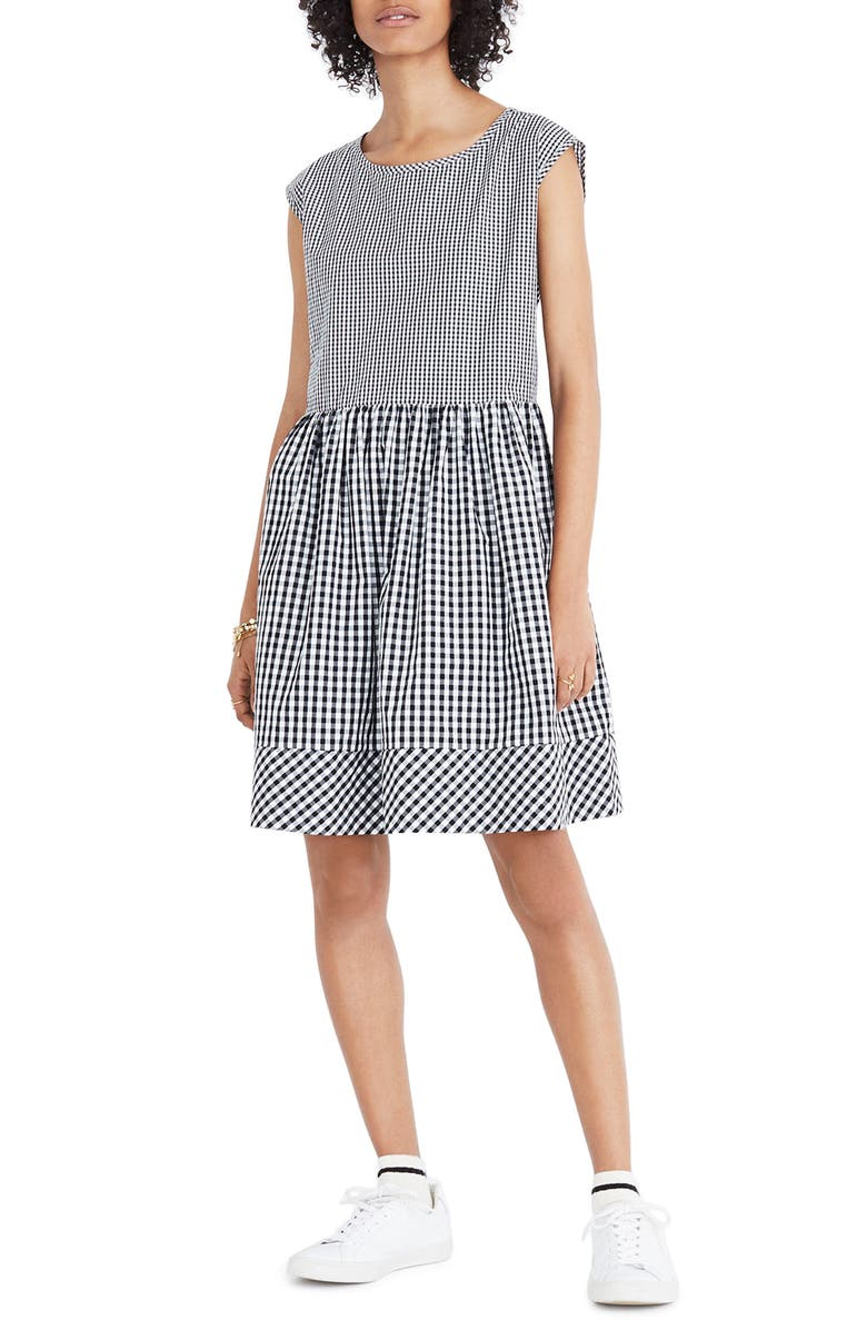 MADEWELL Gingham Tie Back Minidress, Main, color, 009