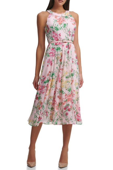 Image of Tommy Hilfiger Sleeveless Diana Floral Chiffon Belted Halter Midi Dress