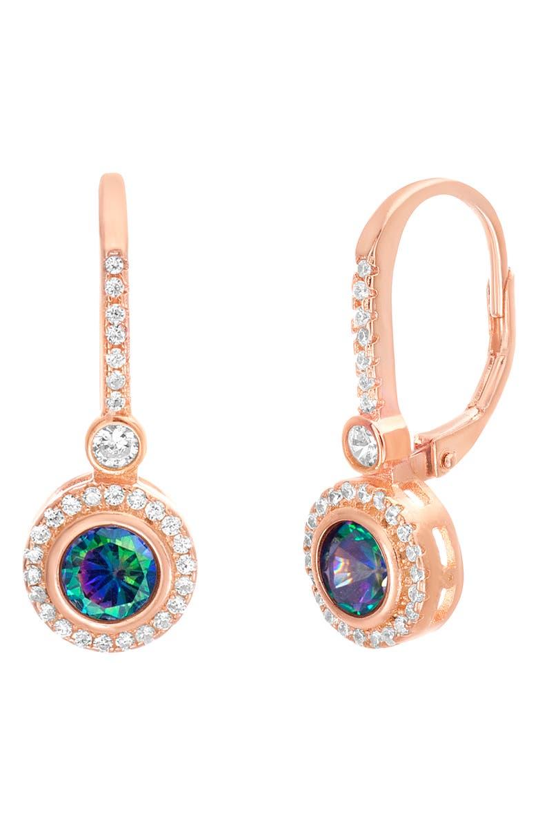 LESA MICHELE Halo Drop Earrings, Main, color, ROSE GOLD/ PURPLE