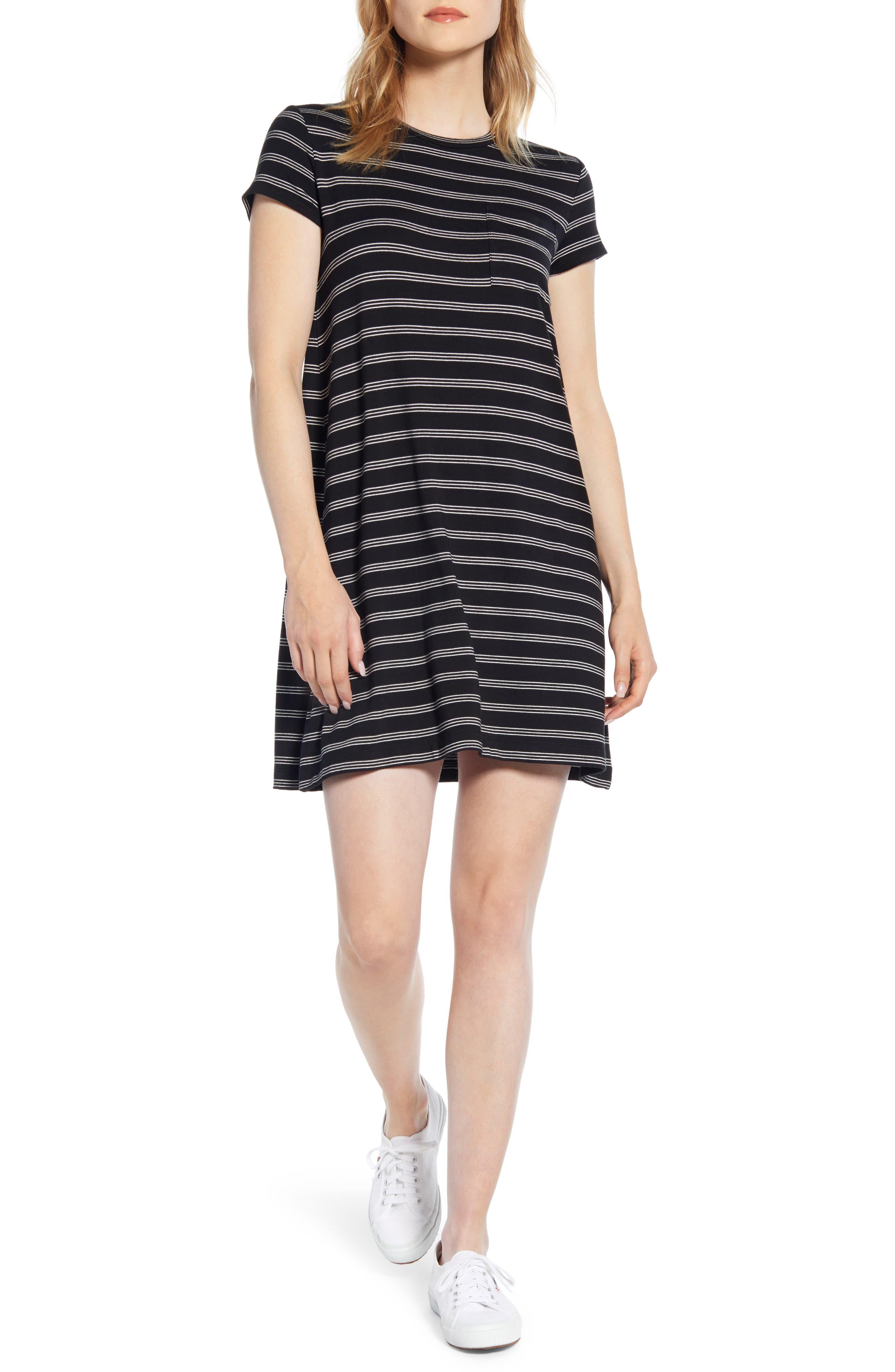 Lou & Grey Stripe Signaturesoft Pocket Tee Dress, Black