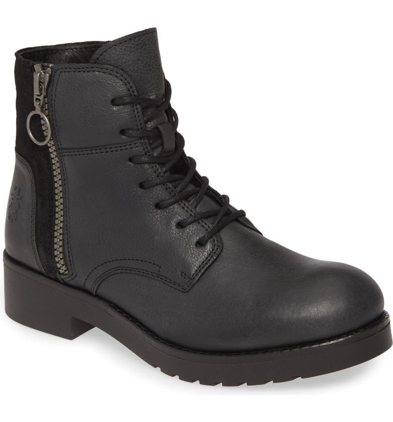 FLY LONDON Buna Water Resistant Bootie, Main, color, BLACK LEATHER