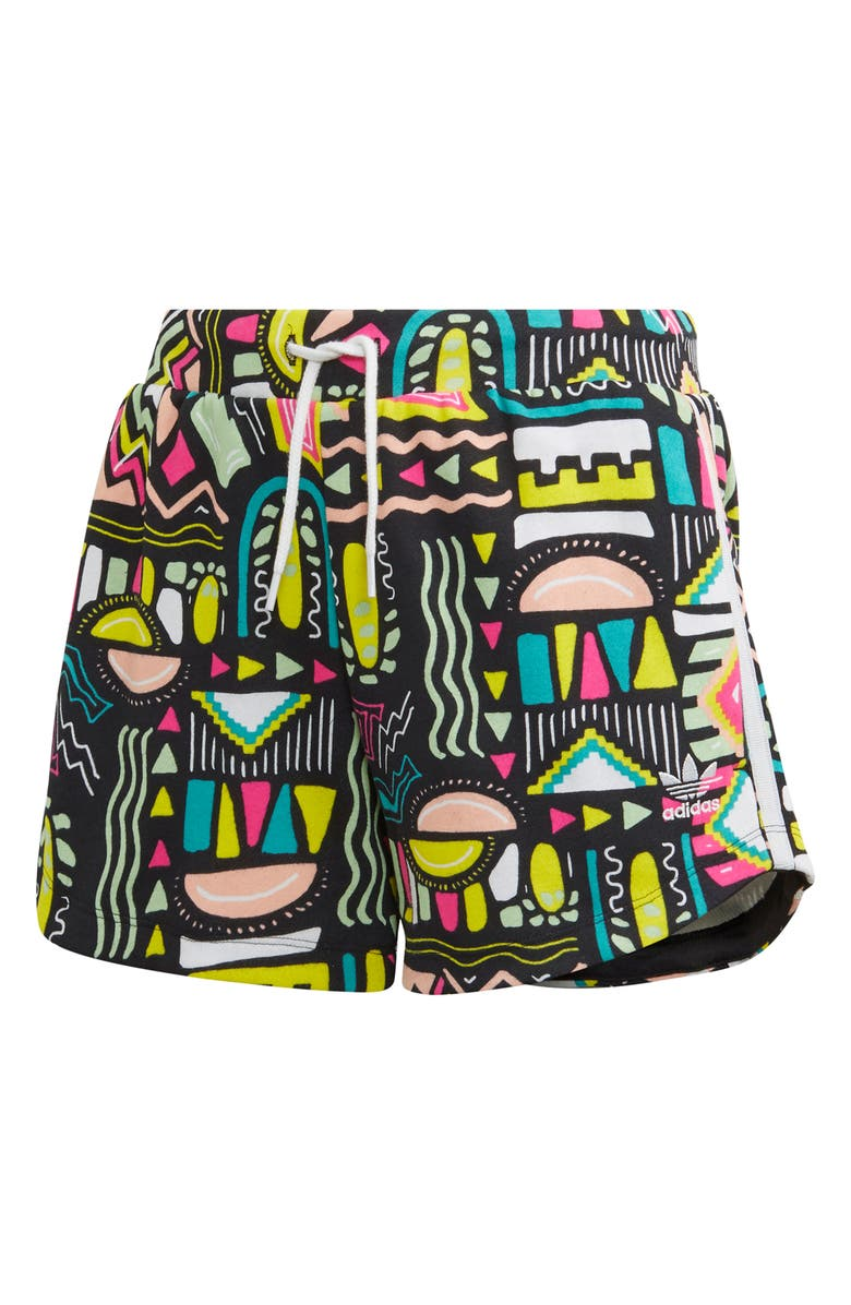 ADIDAS Graphic Print Cotton Blend Shorts, Main, color, MULTCO/ WHITE