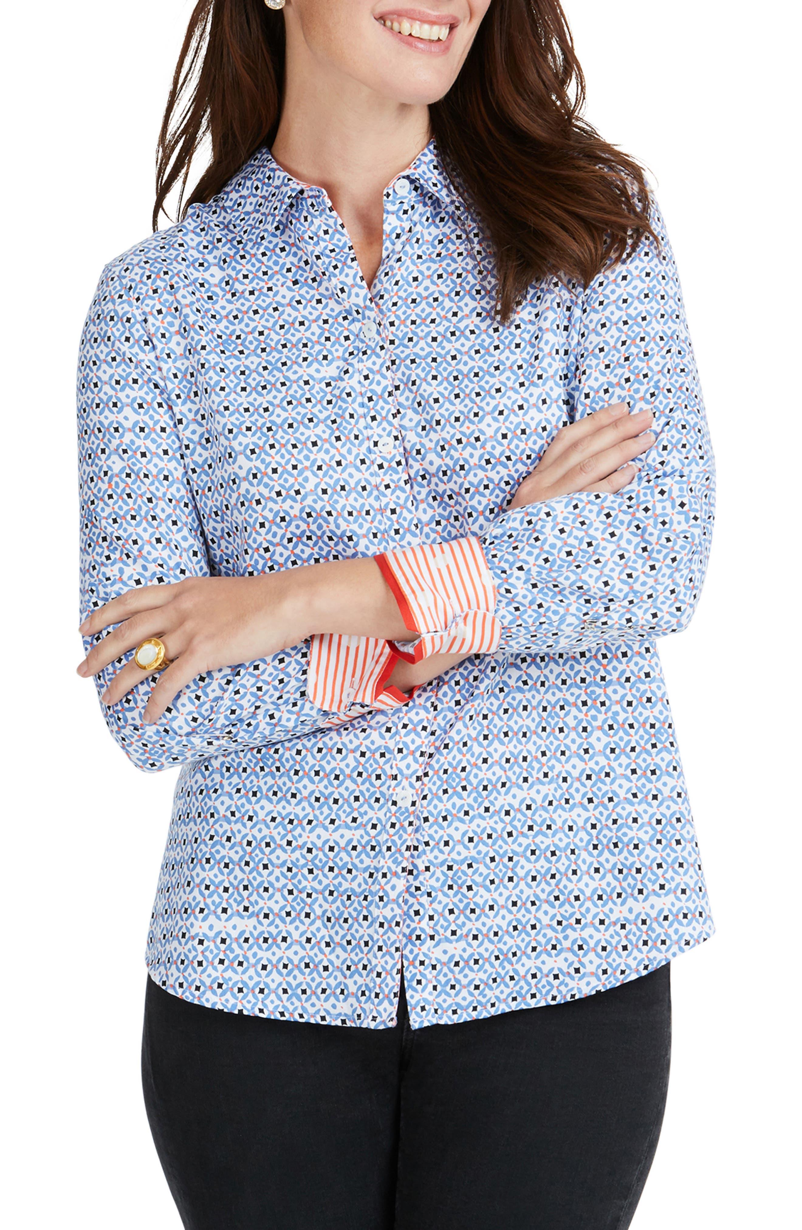 77d67efb128 Foxcroft Ava Diamond Status Print Cotton Shirt, Blue