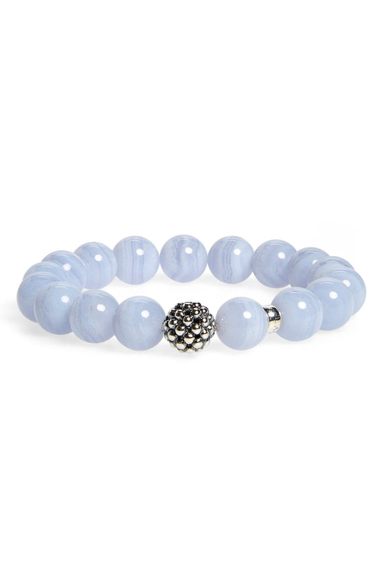 LAGOS Bead Stretch Bracelet, Main, color, BLUE LACE AGATE