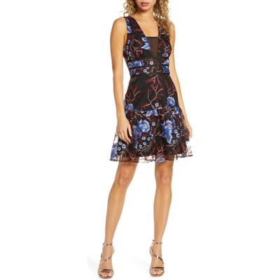 Harlyn Embroidered Fit & Flare Cocktail Dress, Black