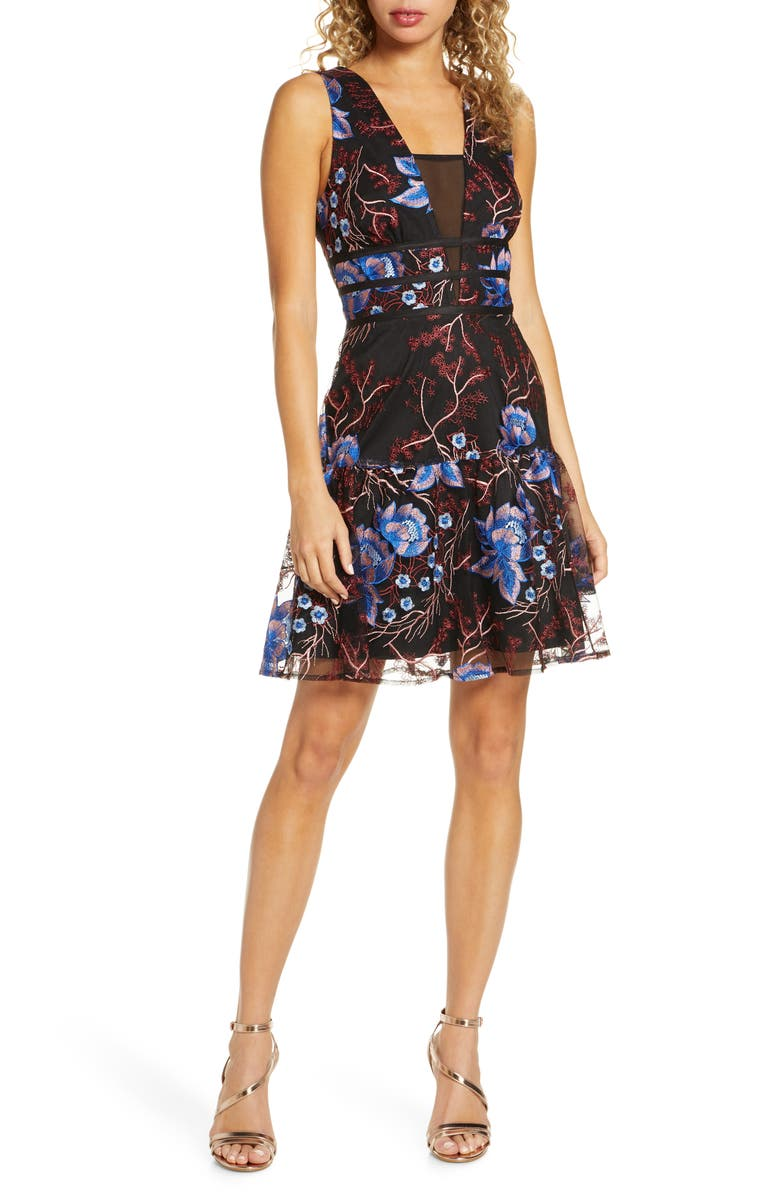 HARLYN Embroidered Fit & Flare Cocktail Dress, Main, color, BLACK MULTI