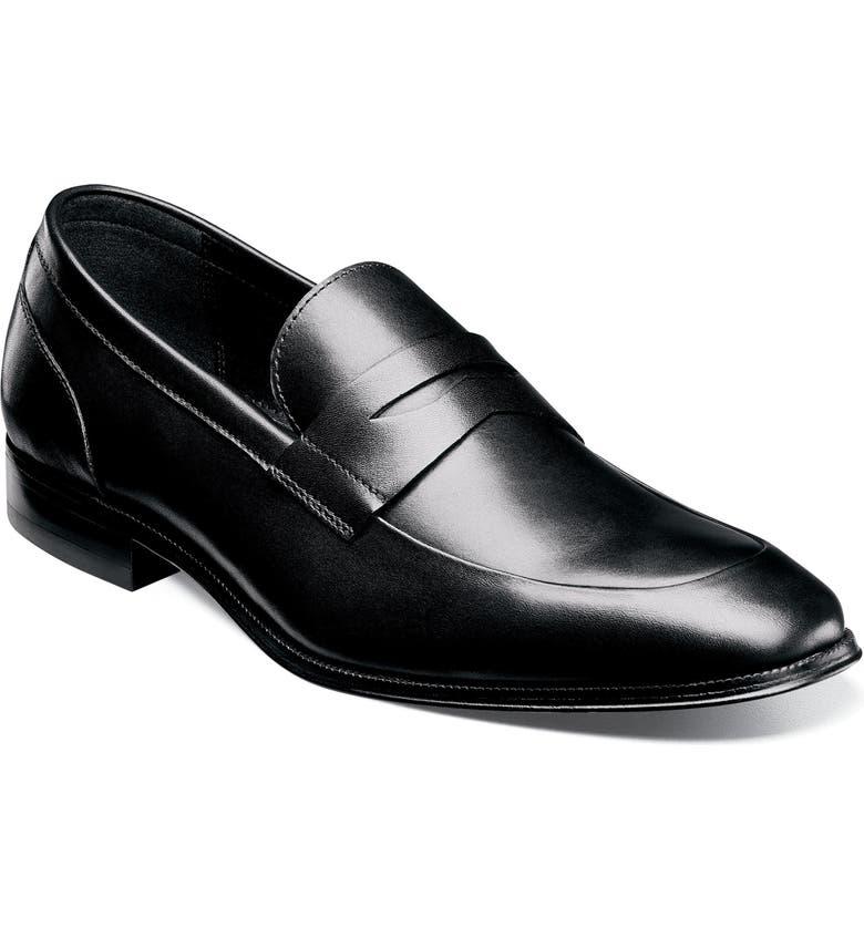 FLORSHEIM Jetson Apron Toe Penny Loafer, Main, color, BLACK