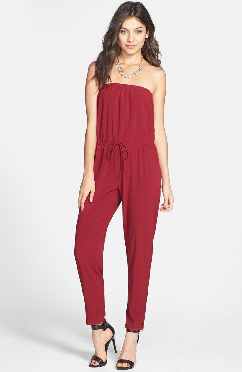 SOCIALITE Strapless Chiffon Jumpsuit, Main, color, WINE
