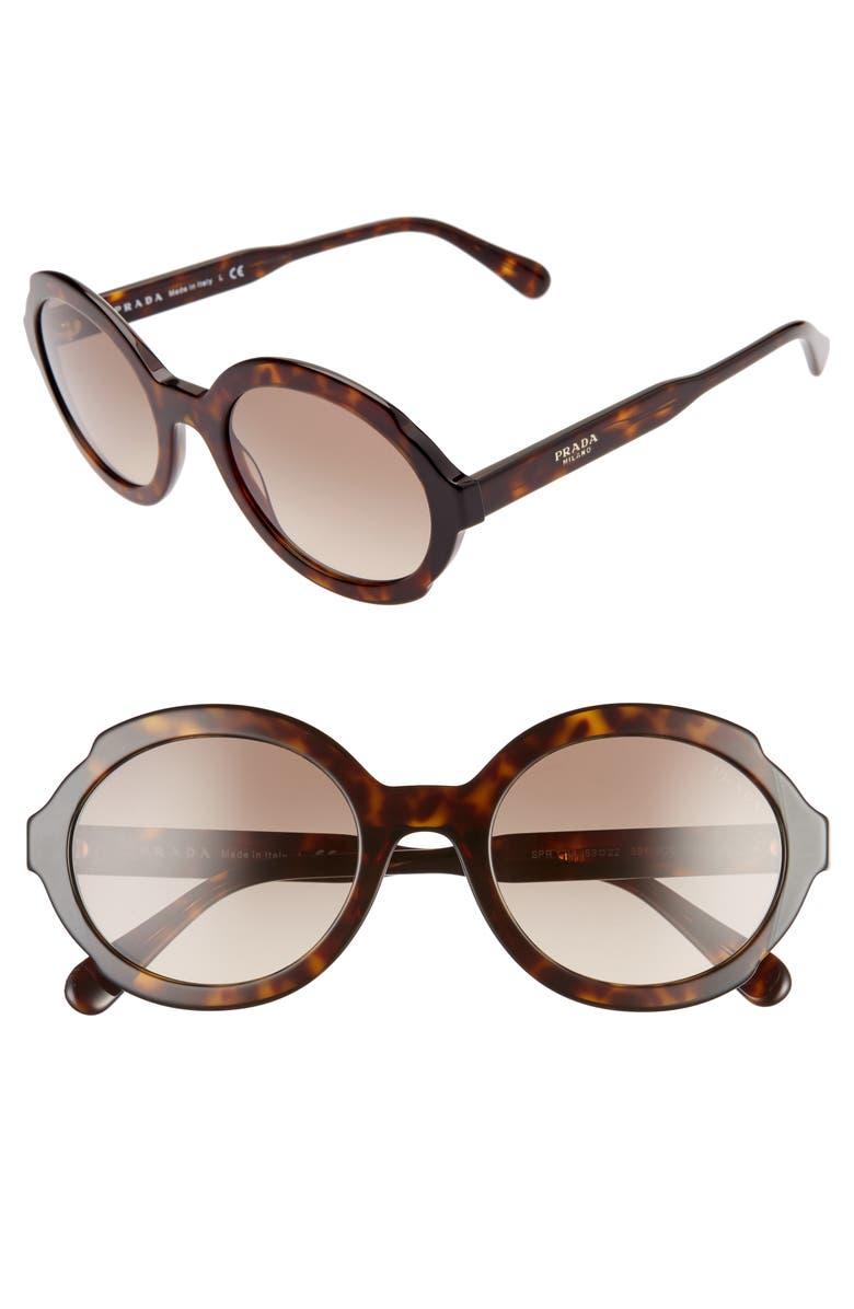 PRADA 55mm Polarized Oval Sunglasses, Main, color, 001