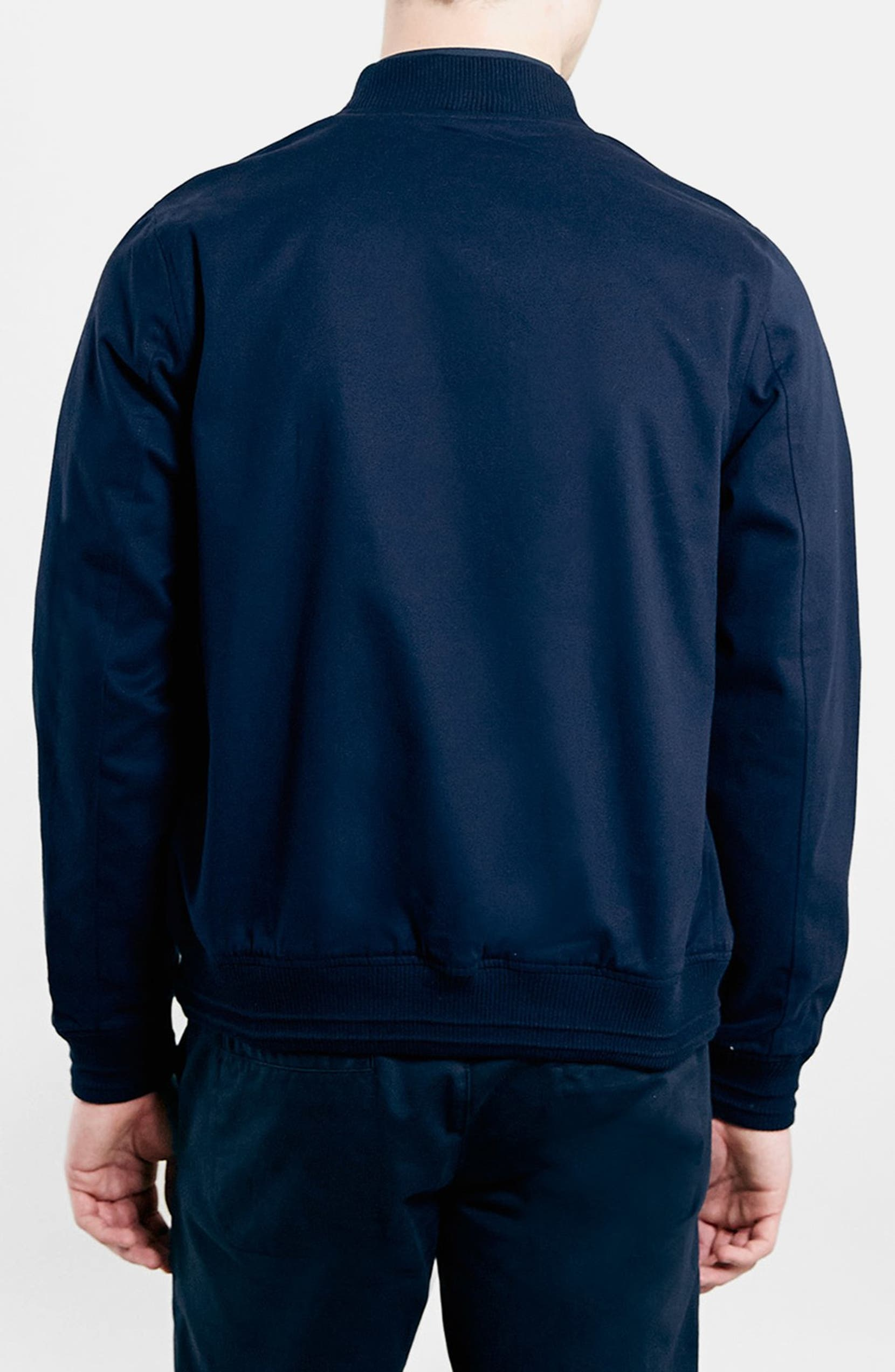 0160b5066 Topman Navy Cotton Bomber Jacket | Nordstrom