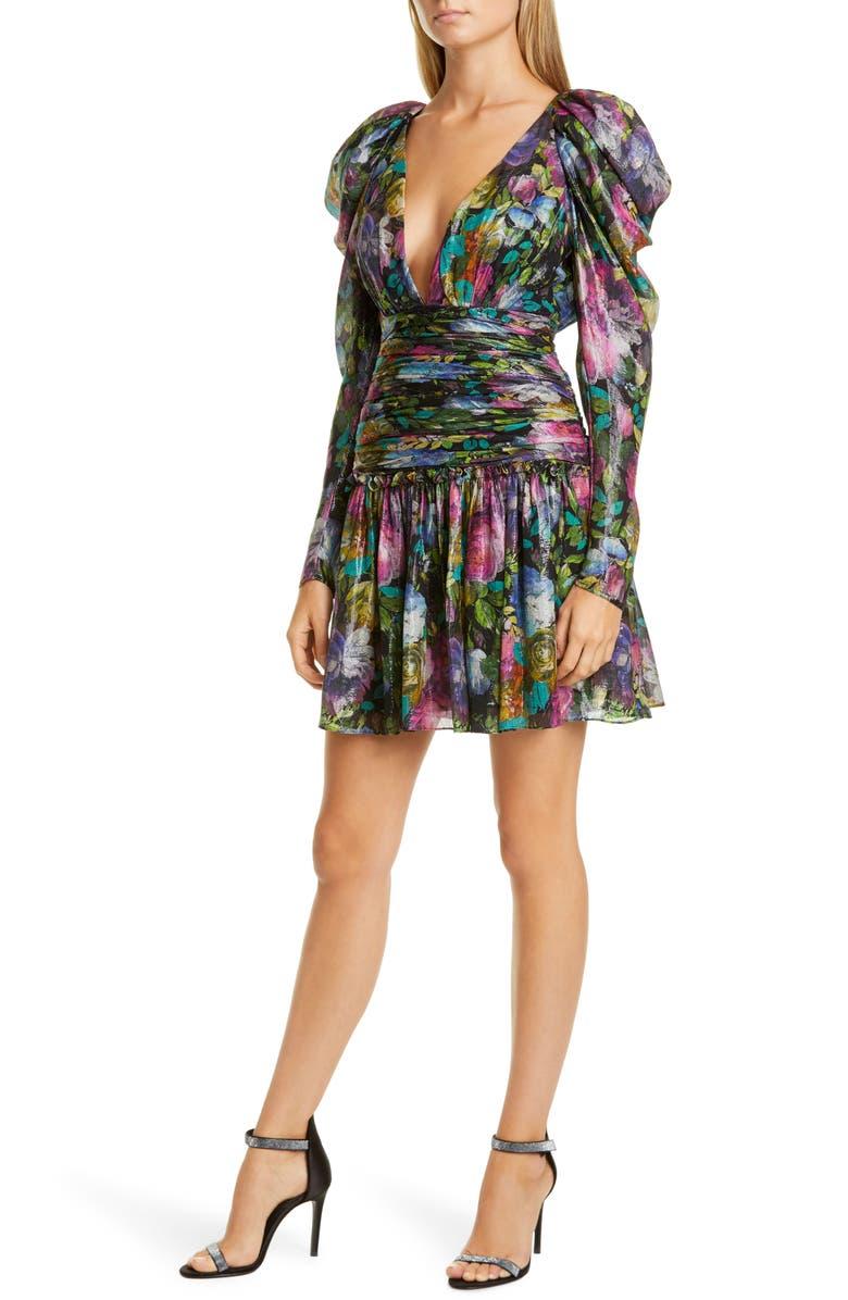 FLOR ET. AL Abigail Long Sleeve Cocktail Dress, Main, color, BLACK