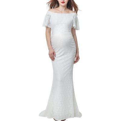 Kimi & Kai Eloise Convertible Off The Shoulder Maternity Wedding Dress
