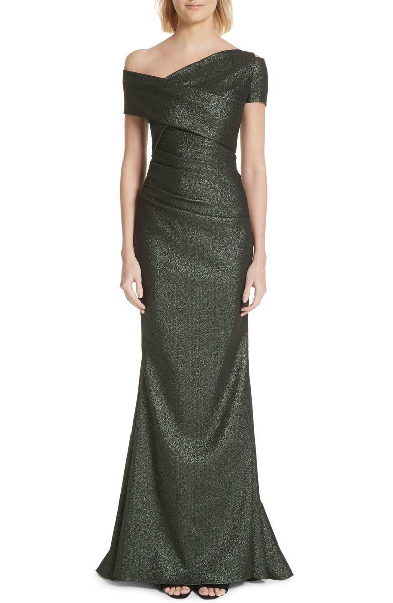 TALBOT RUNHOF Glitter Knit Asymmetrical Mermaid Gown, Main, color, BOTTLE