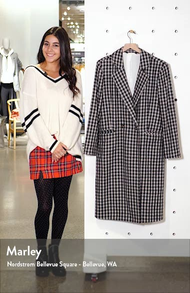 Double Breasted Gingham Long Coat, sales video thumbnail