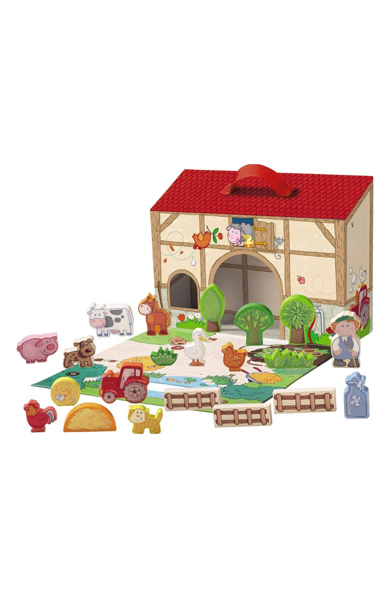 HABA Farming Around Wooden Block Set, Main, color, RED/ BROWN AND GREEN