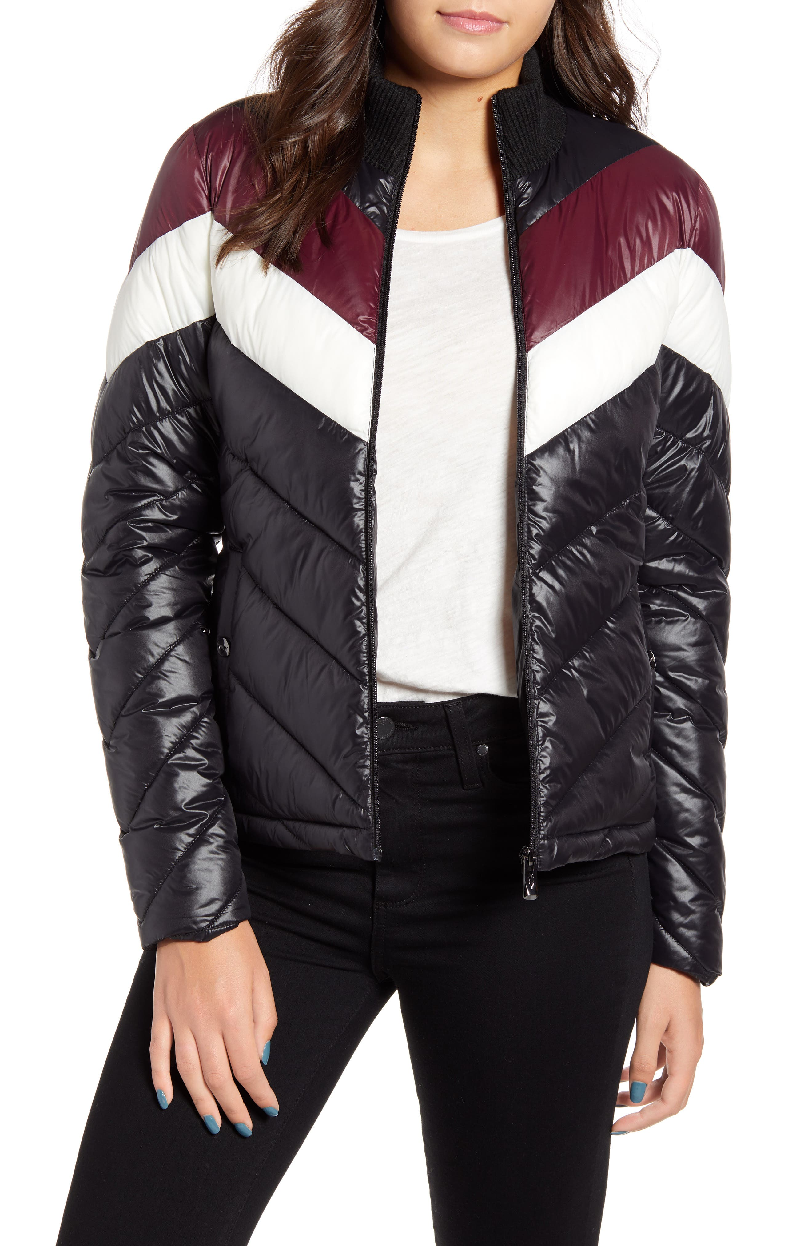 Image of Andrew Marc Colorblock Chevron Puffer Jacket