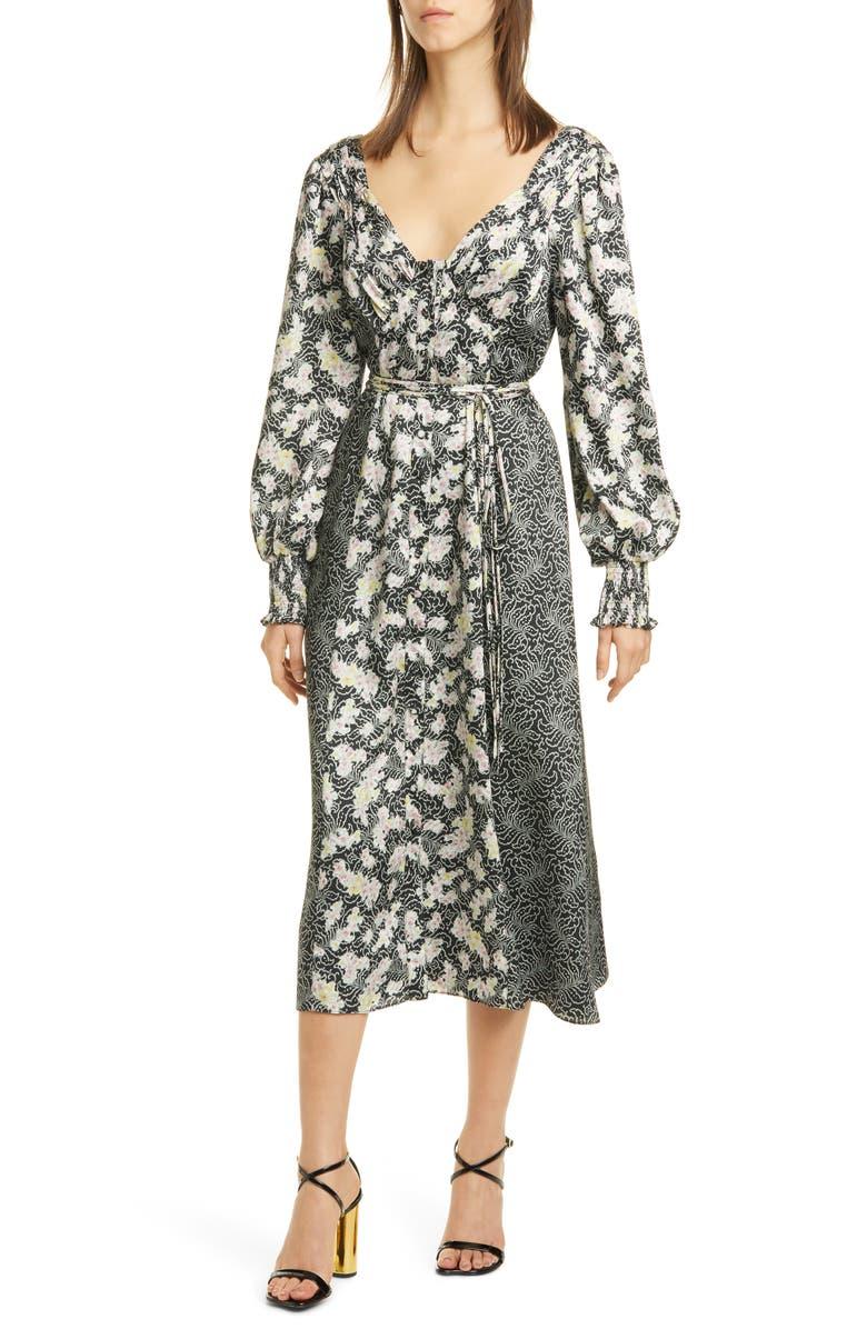 CINQ À SEPT Jessica Mixed Print Long Sleeve Midi Dress, Main, color, BLACK/MULTI