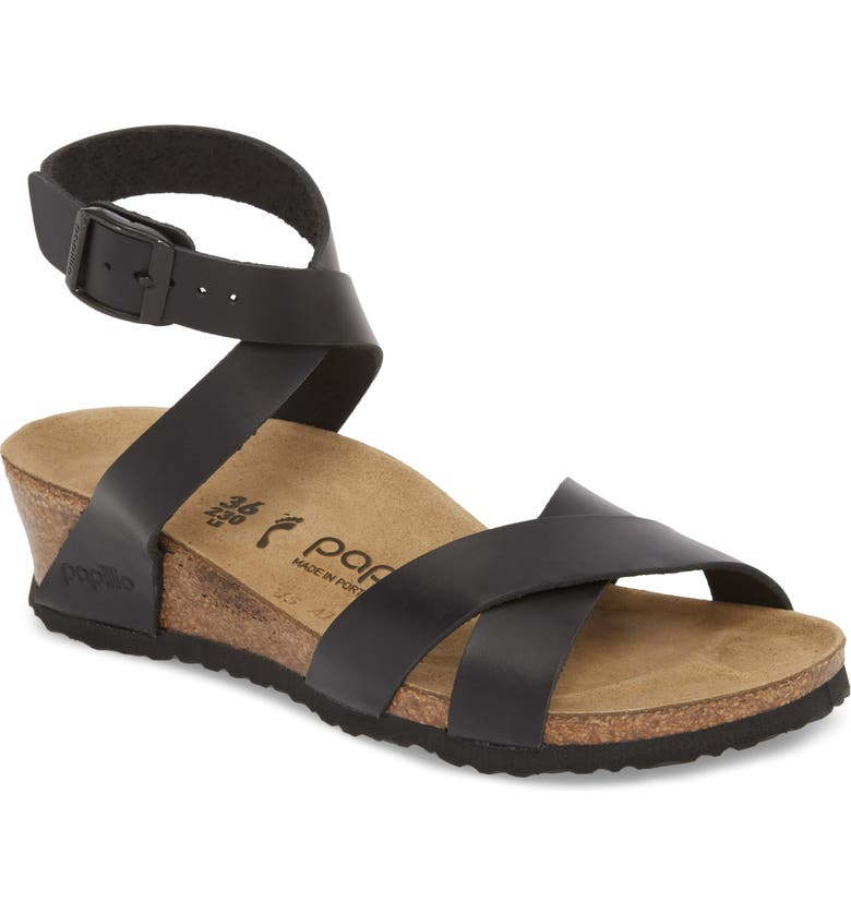 BIRKENSTOCK Papillio by Birkenstock Lola Wedge Sandal, Main, color, BLACK LEATHER