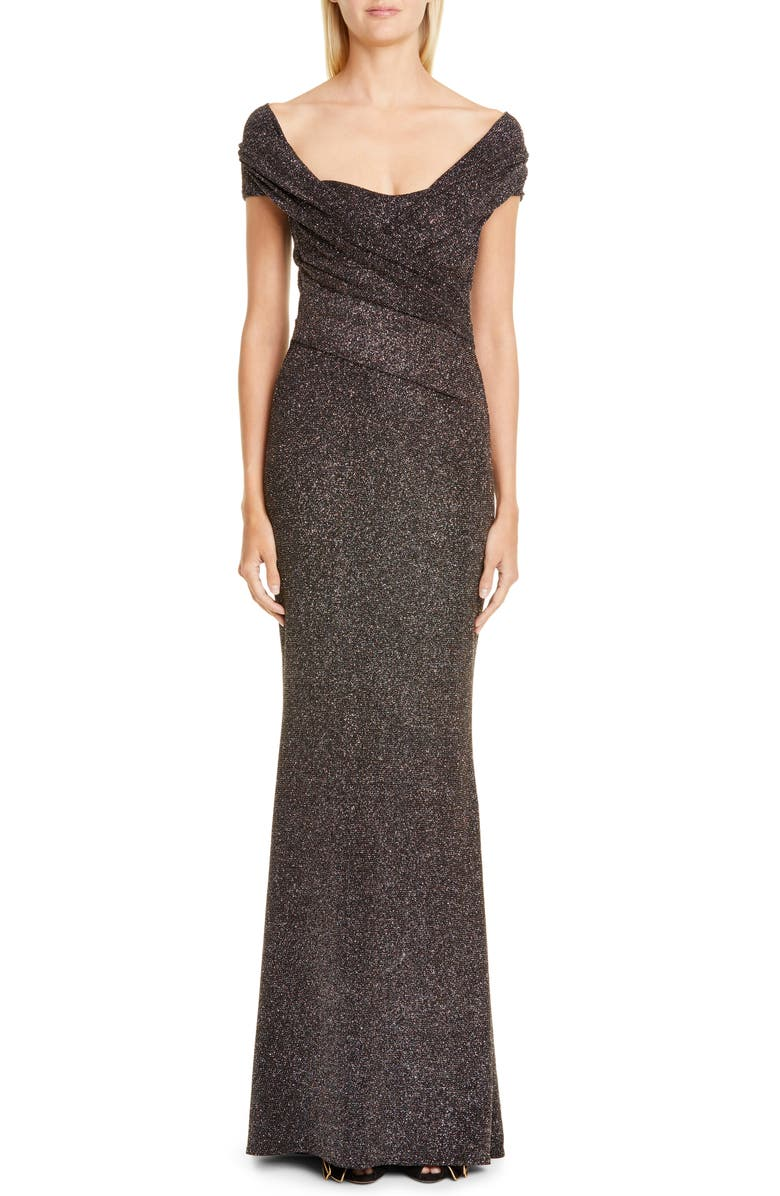 TALBOT RUNHOF Stardust Stretch Jersey Gown, Main, color, BLACK