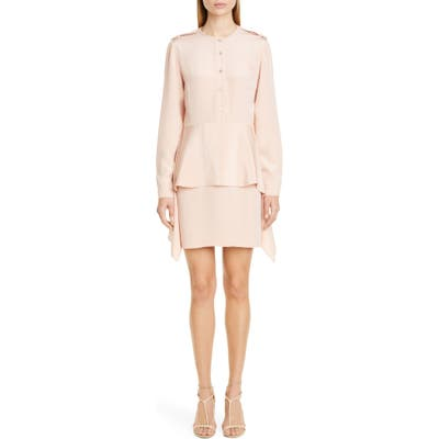 Stella Mccartney Long Sleeve Peplum Silk Dress, US / 42 IT - Pink
