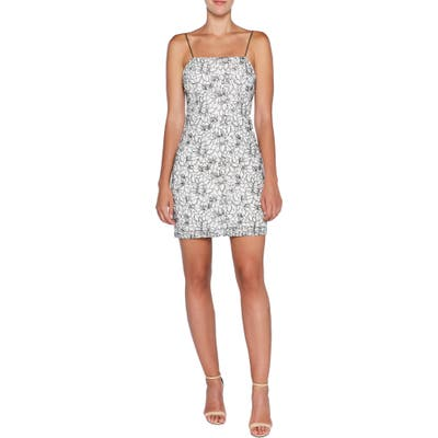 Bardot Angie Floral Jacquard Sheath Minidress, White