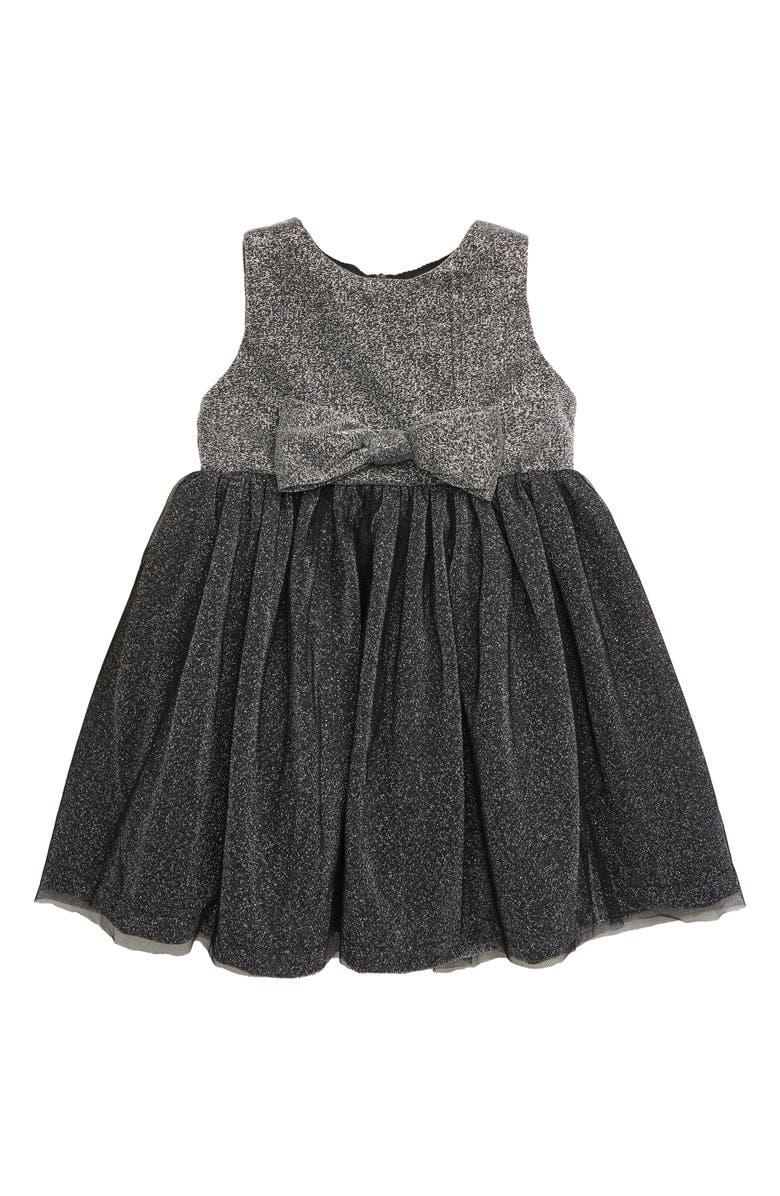 POPATU Metallic Sleeveless Tulle Dress, Main, color, SILVER/ BLACK