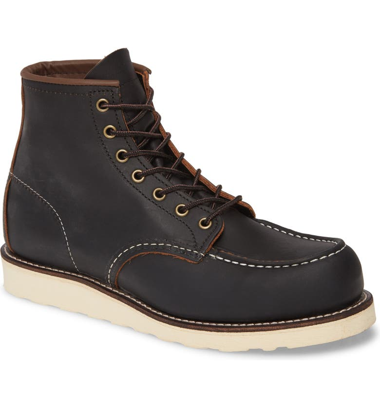RED WING Moc Toe Boot, Main, color, BLACK PRAIRIE LEATHER