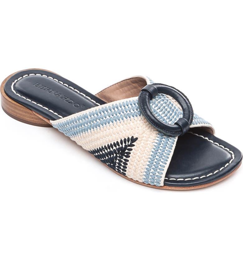 BERNARDO Footwear Tay Slide Sandal, Main, color, BLUE/ CREAM LEATHER