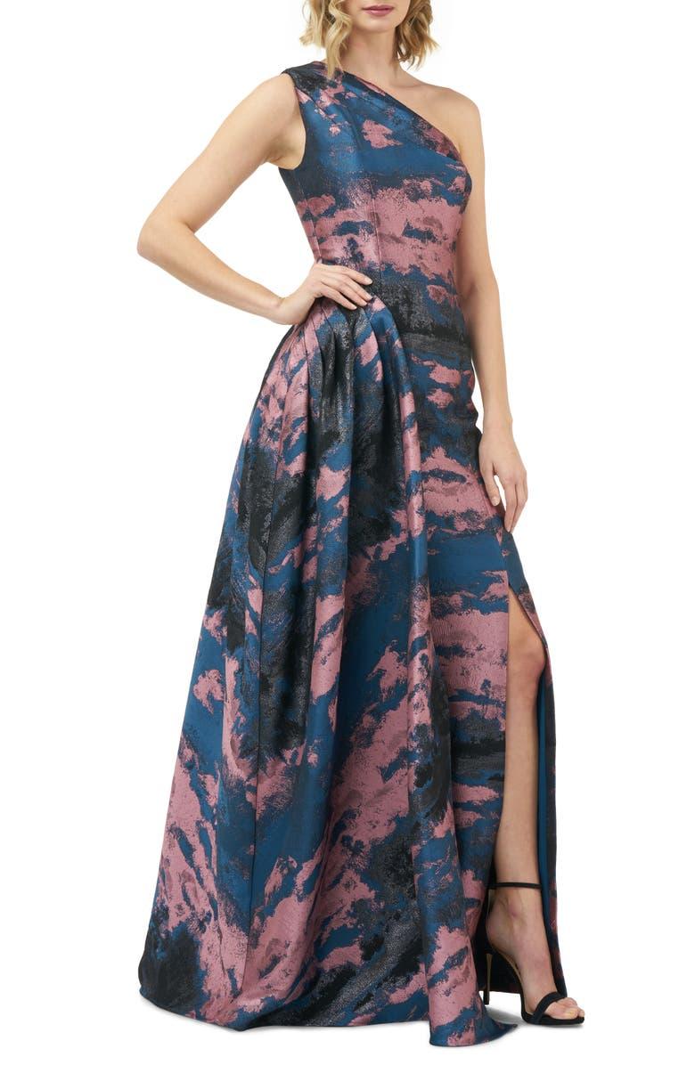 KAY UNGER Noelle One-Shoulder Jacquard Gown, Main, color, 400
