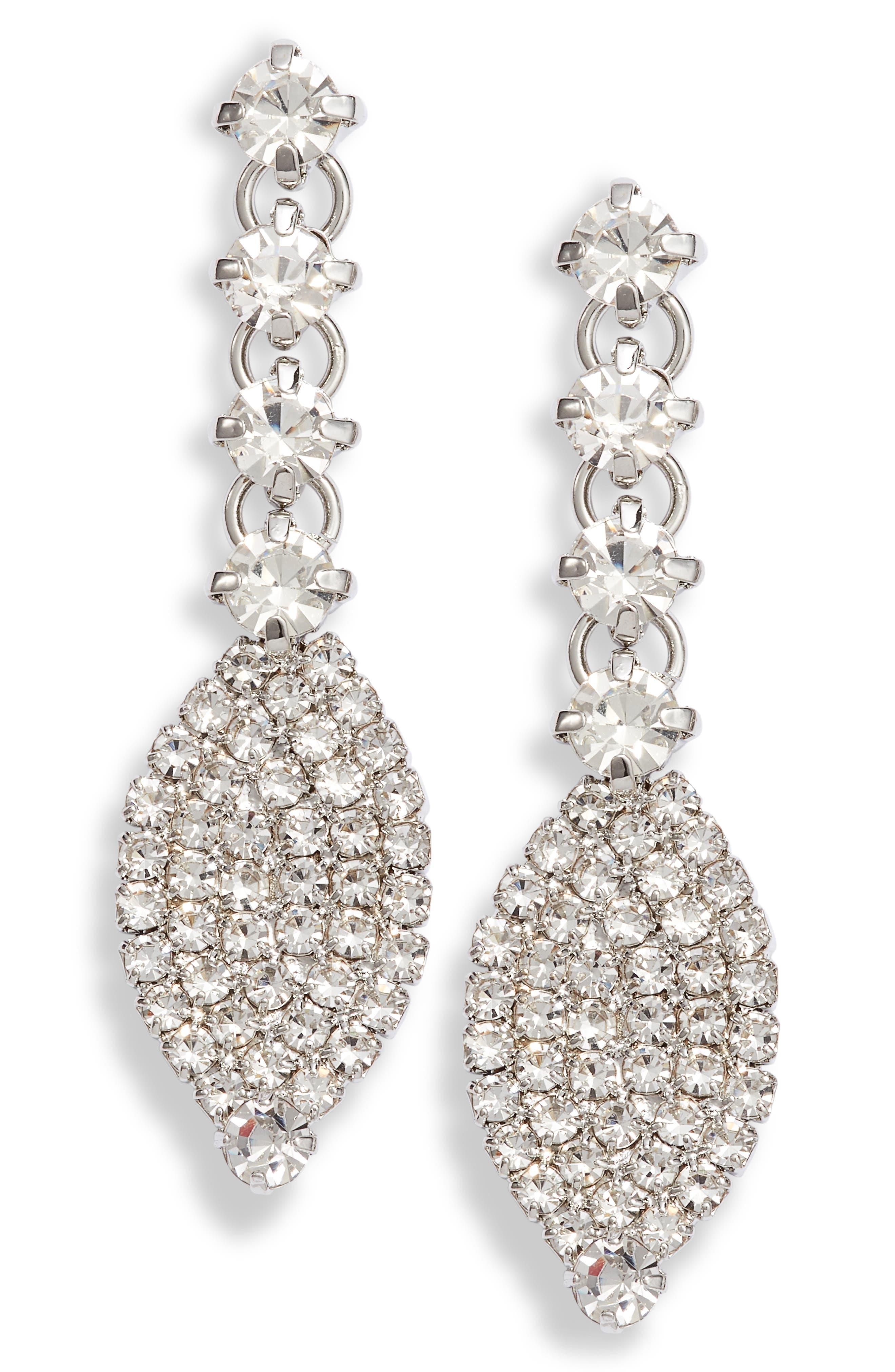 Navette Cubic Zirconia Pave Drop Earrings