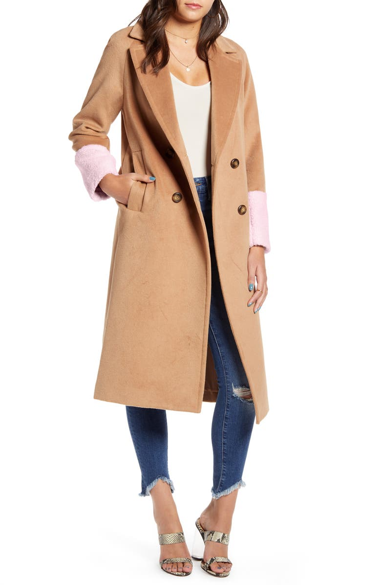 MURAL Colorblock Double Breasted Coat, Main, color, CAMEL/ PINK