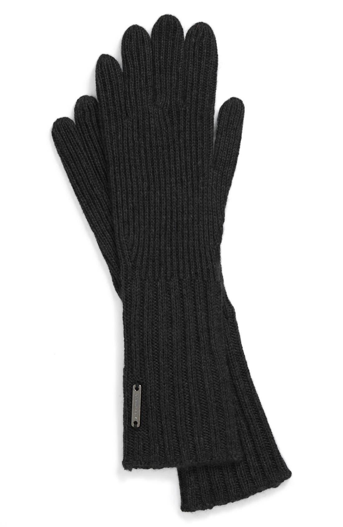 ,                             Cashmere Blend Touch Tech Knit Gloves,                             Main thumbnail 1, color,                             001