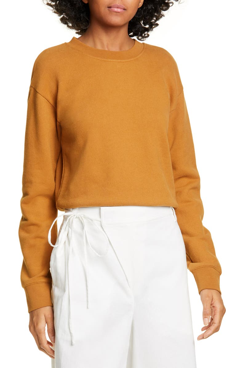 VINCE Crewneck French Terry Sweatshirt, Main, color, TEAKWOOD
