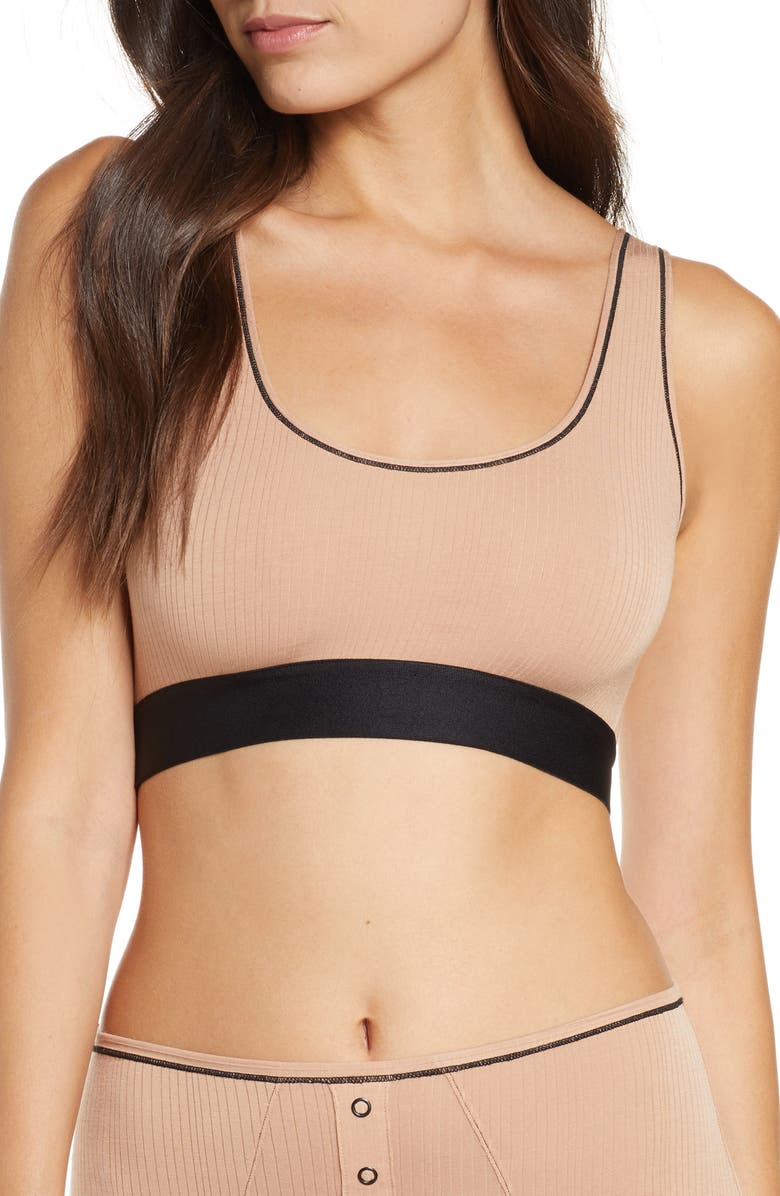 NEGATIVE UNDERWEAR Whipped Bralette, Main, color, BUFF/BLACK