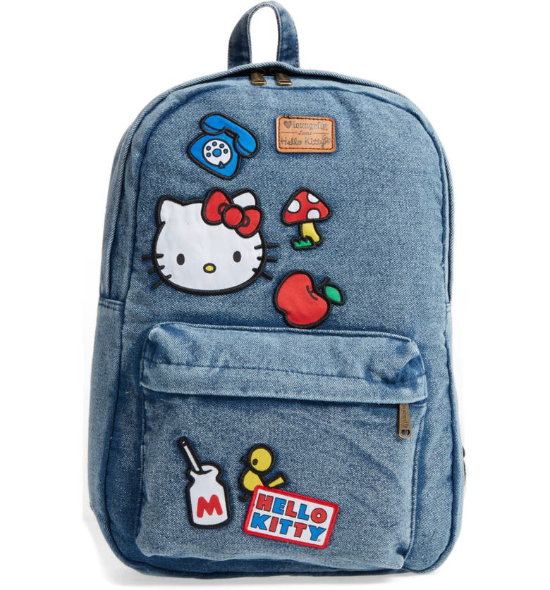 LOUNGEFLY Hello Kitty<sup>®</sup> Patch Denim Backpack, Main, color, 400