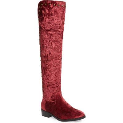 Very Volatile Akita Studded Over The Knee Boot- Burgundy