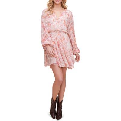 Astr The Label Raphaela Leopard Print Long Sleeve Chiffon Dress, Pink