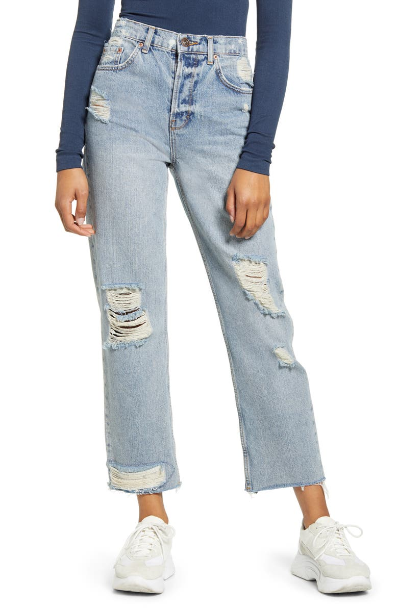 BDG URBAN OUTFITTERS Jackson Ripped High Waist Straight Leg Jeans, Main, color, BLUE