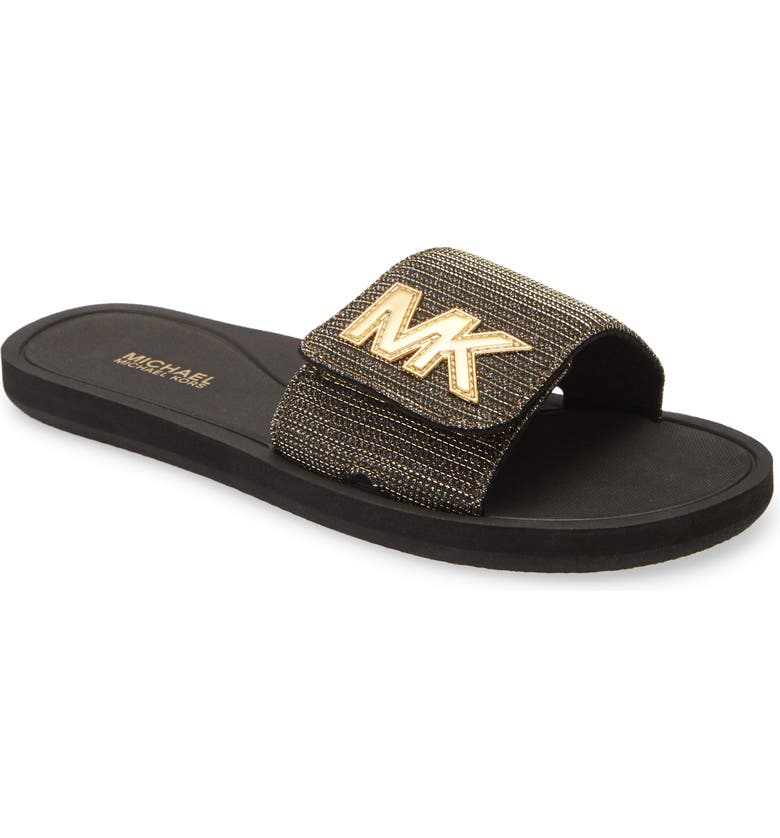 MICHAEL MICHAEL KORS MK Logo Slide Sandal, Main, color, BLACK