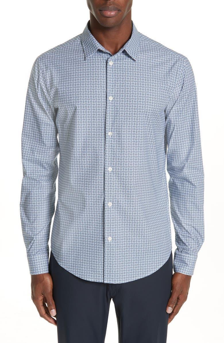 EMPORIO ARMANI Dia Slim Fit Stretch Geometric Shirt, Main, color, 450