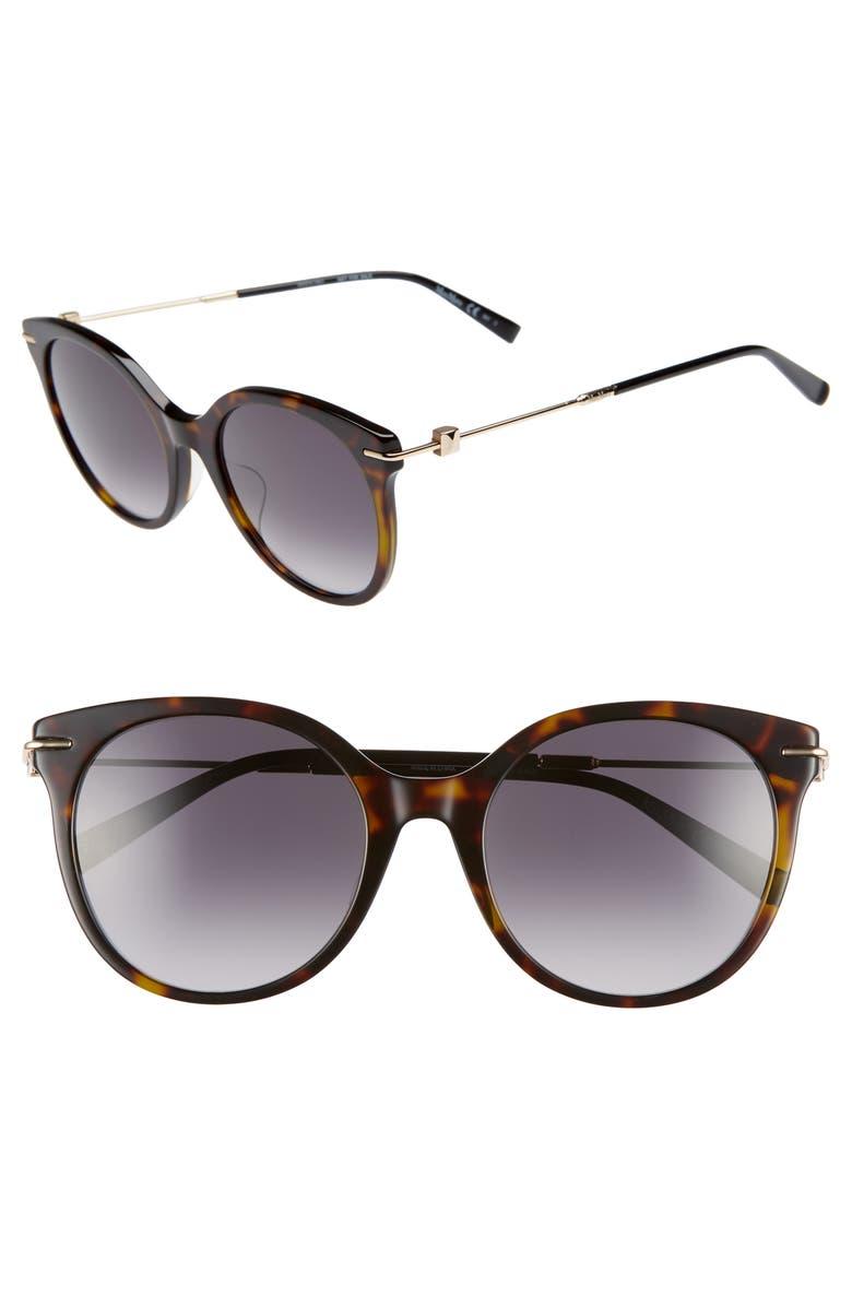 MAX MARA Marilyn 54mm Special Fit Cat Eye Sunglasses, Main, color, DARK HAVANA