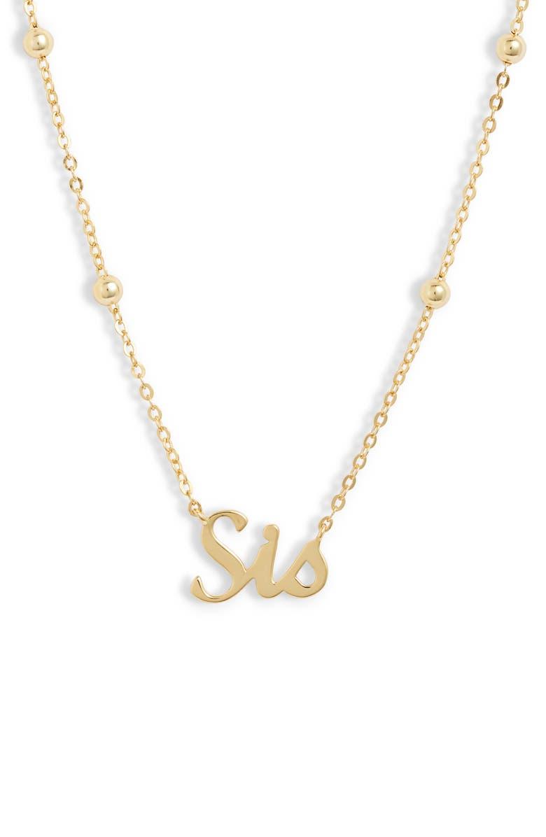 ARGENTO VIVO Sis Pendant Necklace, Main, color, GOLD