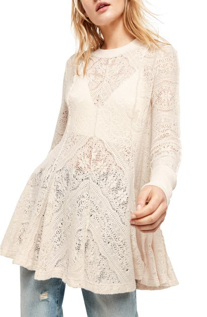 Free People Coffee In The Morning Tunic Pullover In Ivory