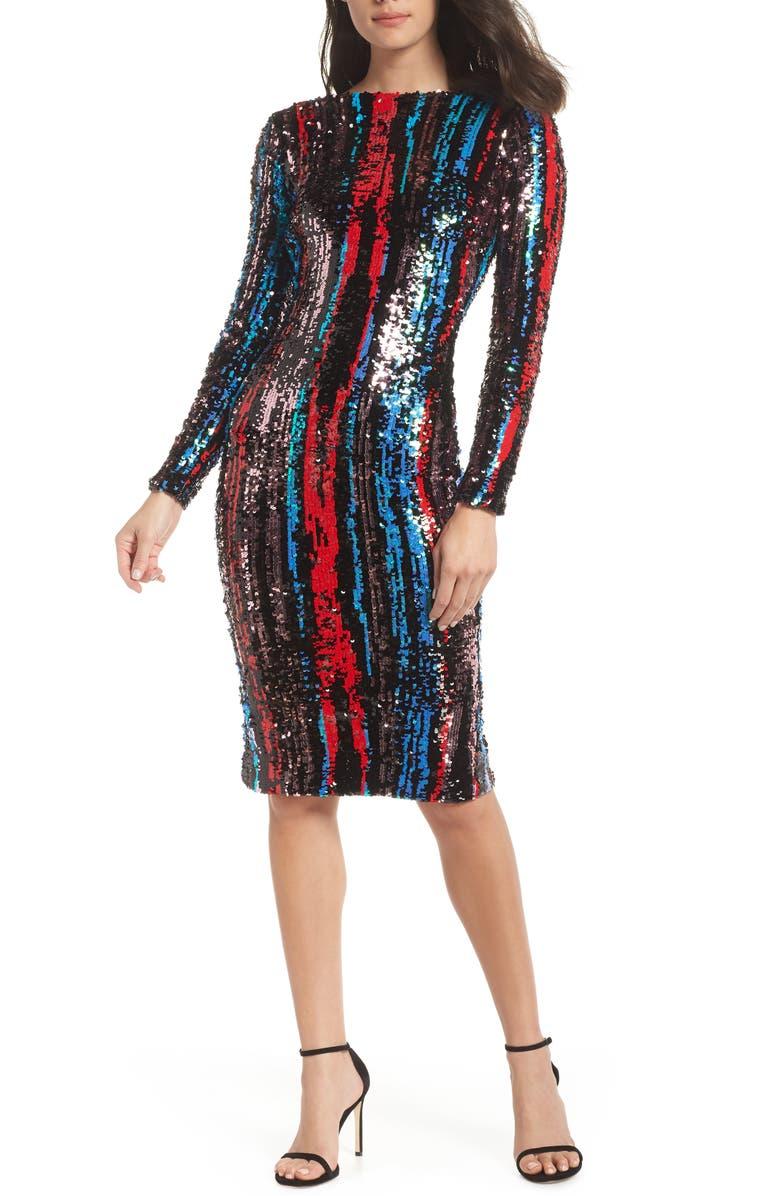 DRESS THE POPULATION Emery Scoop Back Dress, Main, color, 621