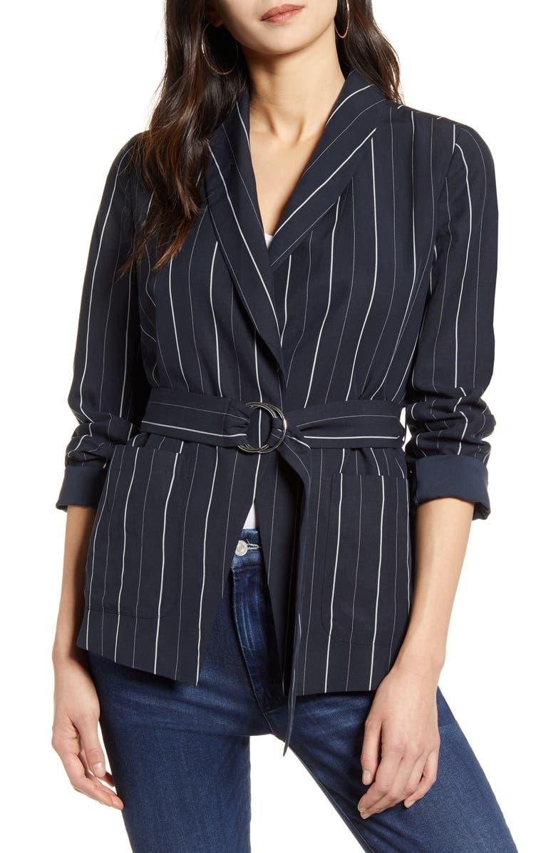 CHELSEA28 Multistripe Tie Waist Jacket, Main, color, NAVY STRIPE