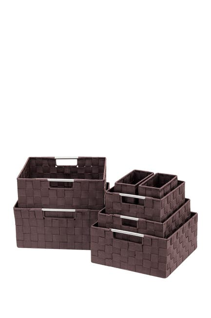 Image of Sorbus Chocolate Weave 7-Piece Basket Set