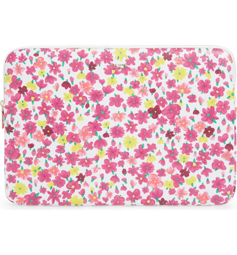 KATE SPADE NEW YORK marker floral universal laptop sleeve, Main, color, OPTIC WHITE MULTI